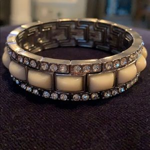 Ann Taylor white and rhinestone stretch bracelet